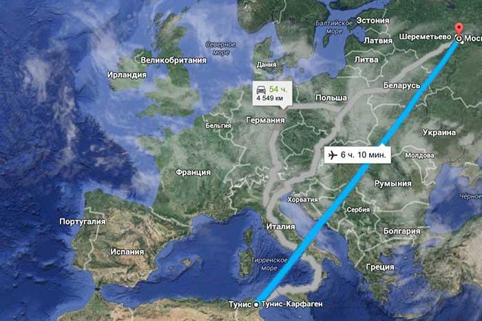 Сколько лететь до Туниса из Москвы